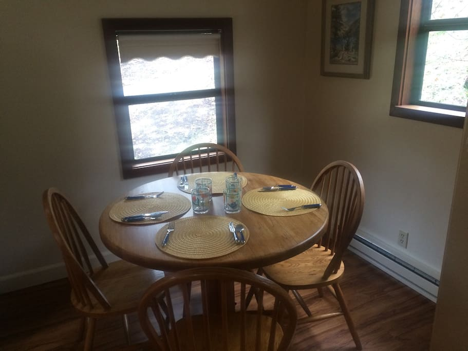 Table seats four to six.  Electric baseboard heaters, on solar electric system.