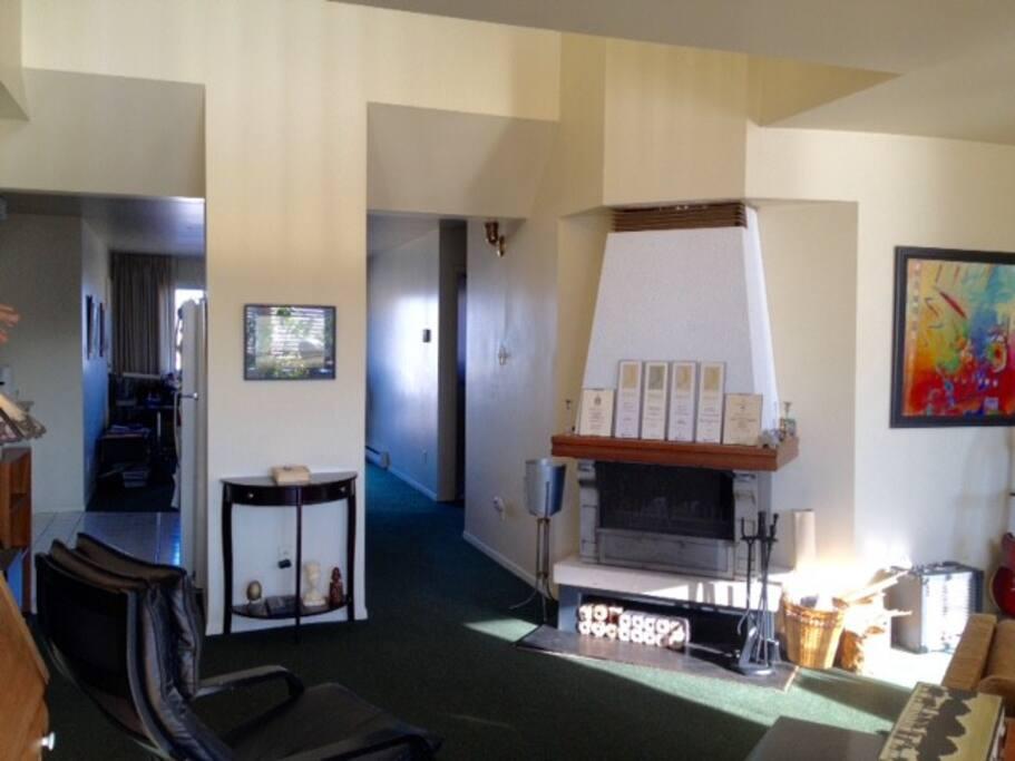 Grande pièce principale avec foyer, salon et bureau
