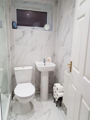 Stunning shower room, down lighter lights, extractor fan,