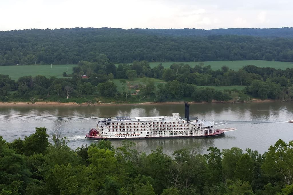 View of the American Queen as she passes before the cabin deck.