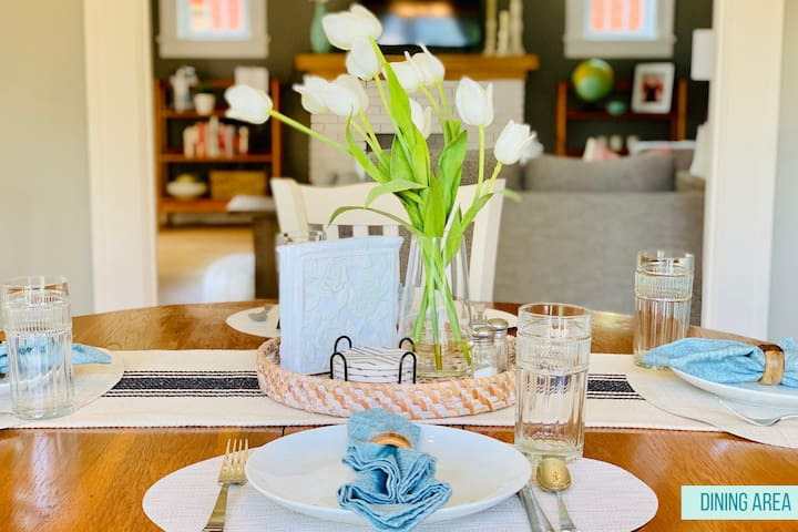 Whether you want to enjoy a home cooked meal using the tableware provided, or you just want to sit and chat over a cup of coffee or fun board game, the dining room table provides the perfect spot.