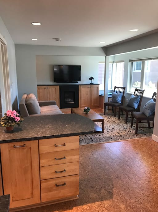 Enjoy cozy gas fireplace and large screen TV with WiFi included.