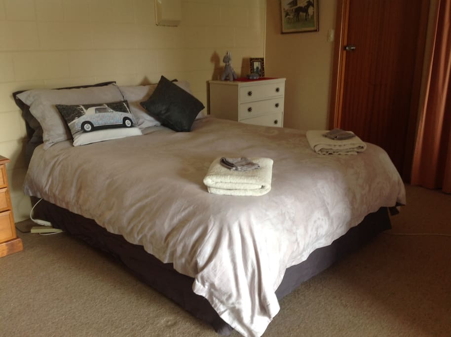 Queen Size Bed in bedroom with toilet off this room