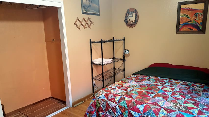 There is one double bed in this room.  We have an air mattress if needed.