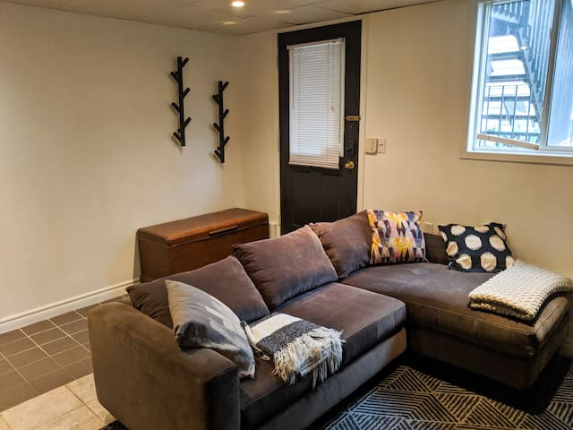 Huge lower level suite in Leslieville Townhouse.