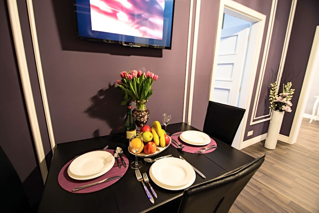 dinner table and all needed crockery in the dining room for you 1