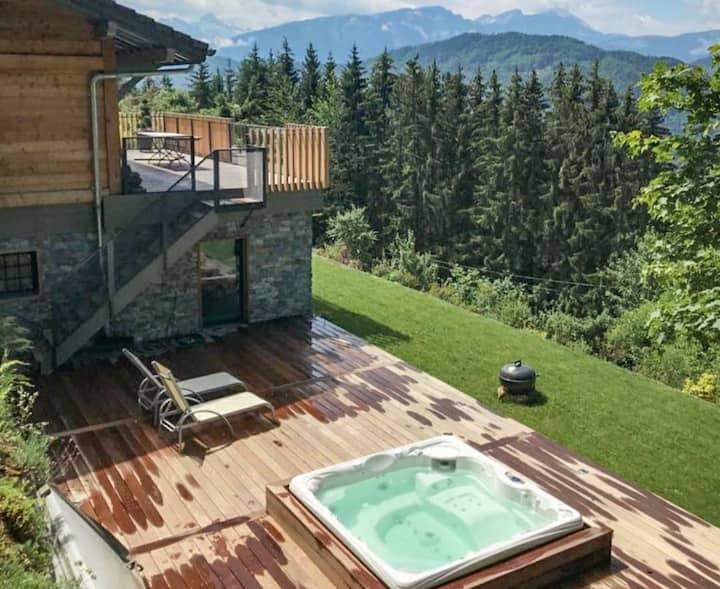 Chalet avec spa et sauna, cadre exceptionnel