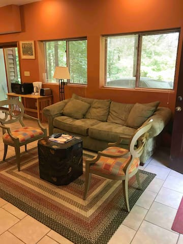 Sliding glass windows and doors open to back yard with trampoline, with views of forest, sunsets and lake.