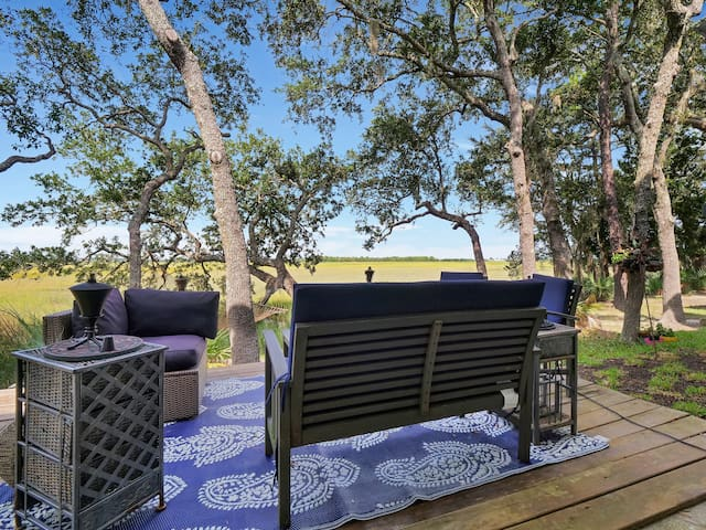 Beautiful marsh view sitting area on back deck