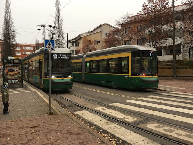 Trams #10 on the stop #KYTÖSUONTIE one block from apartment.