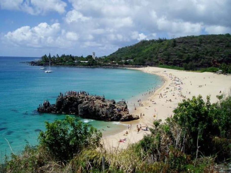 Waimea Bay - Surf and Swim or jump from the big rock  - about 5--minute drive