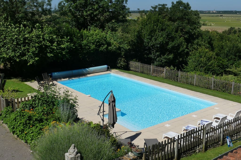 The Pool at Le Vieux Café - surrounded by beautiful countryside
