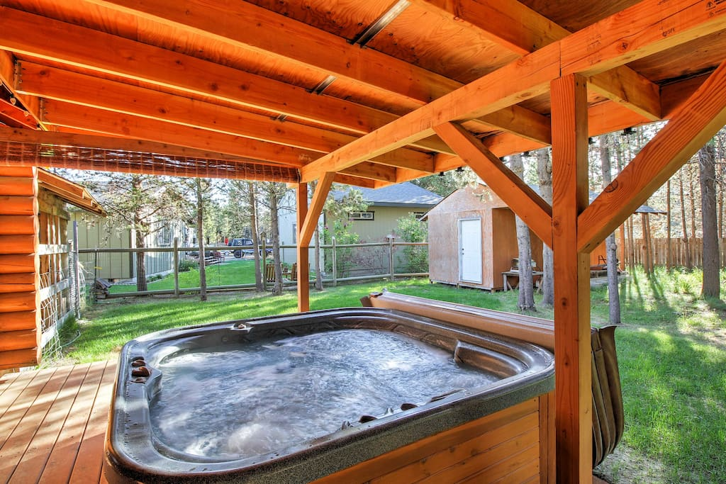 Soak your muscles in the private hot tub.