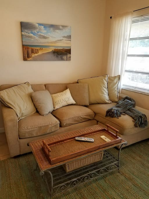 Clean and cozy for a relaxing stay. Comfortable sofa used as additional sleeping space if required.