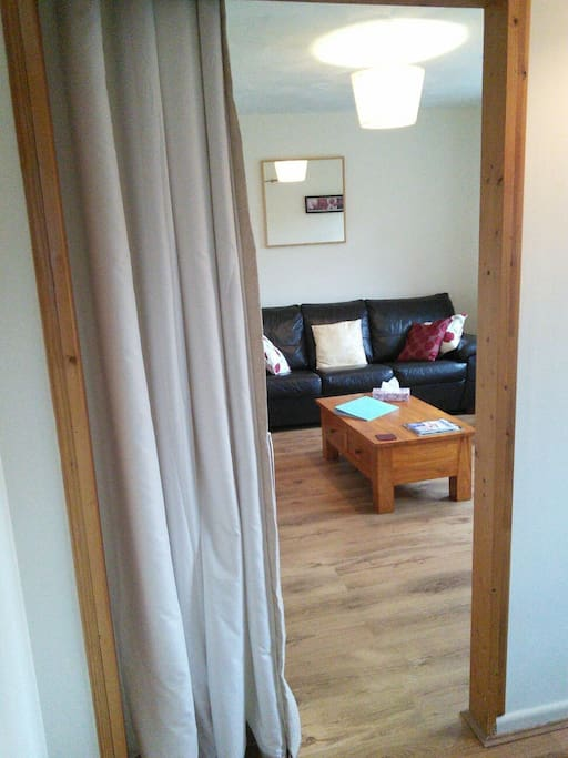 From the bedroom into the lounge.