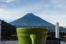 You can have a coffee with the beautiful view of the water volcano.