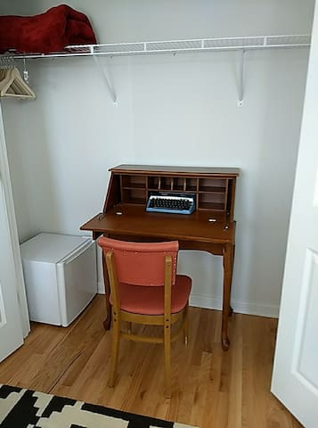 pocket desk set up in closet