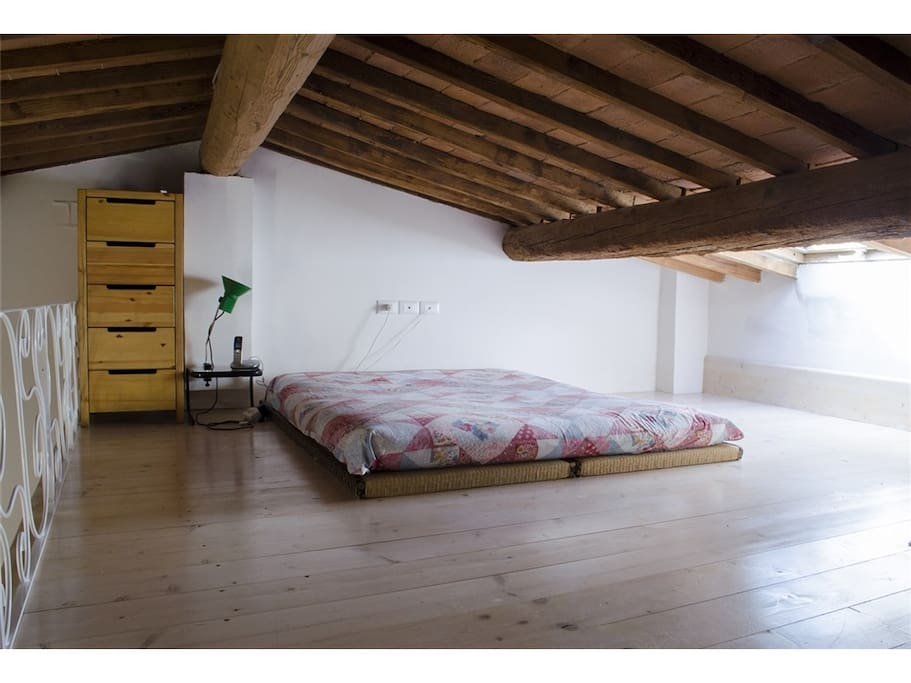 double bed in the loft