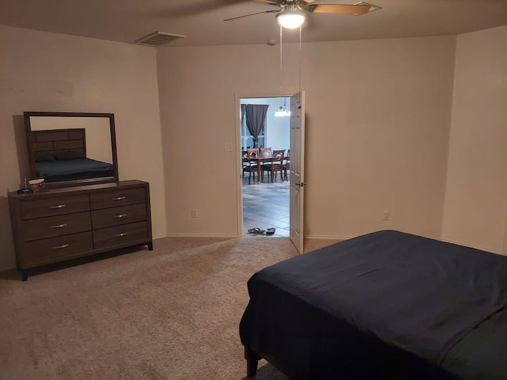 Comfortable large master bedroom with large closet