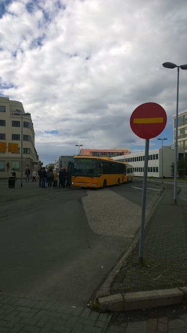 just 2 minute walking you will come center bus station of Reykjavik City