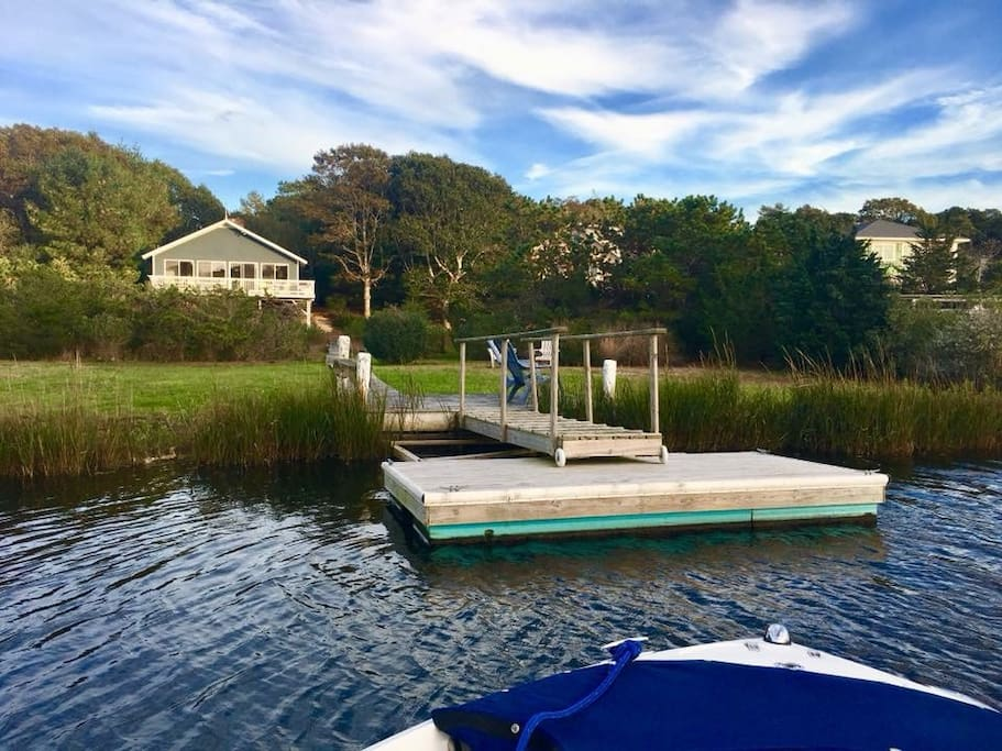 View of Dock and Backyard from boat