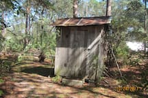 and a real outhouse is available for outdoor necessities!