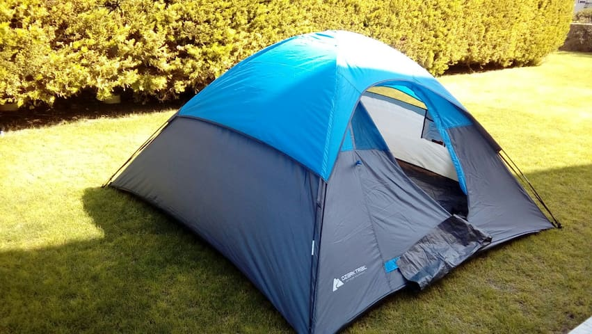 Enjoy waking up outdoors in a tent!