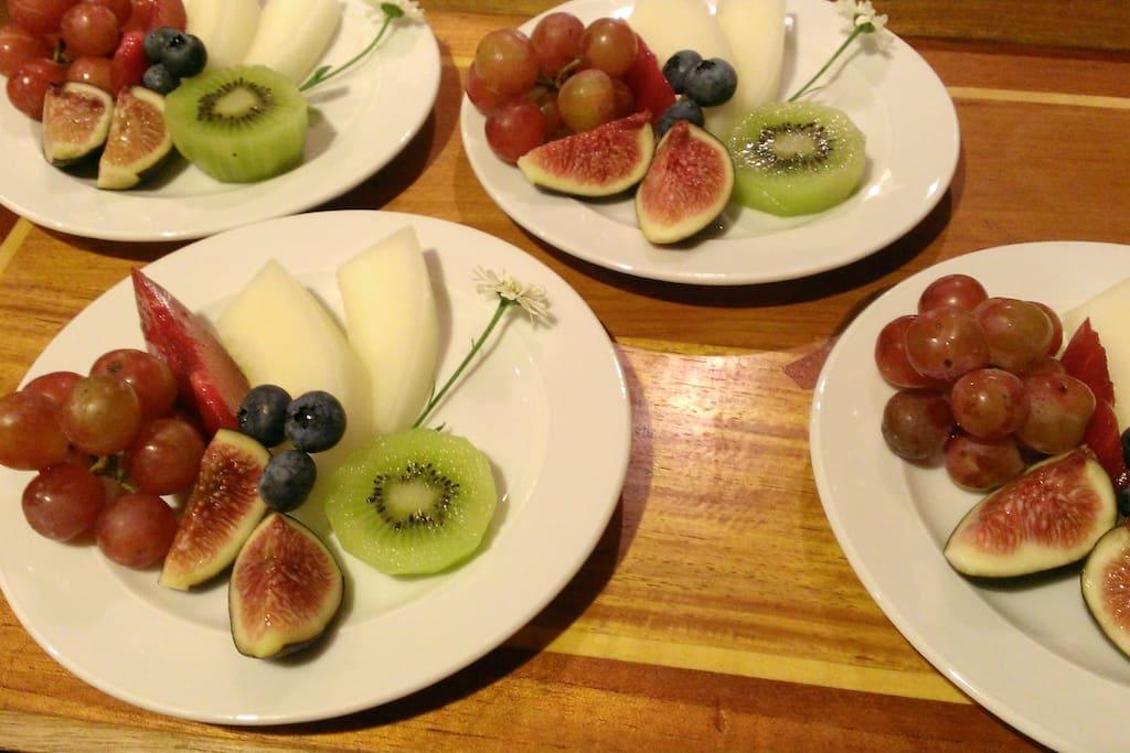 Organic fresh fruit to start off breakfast