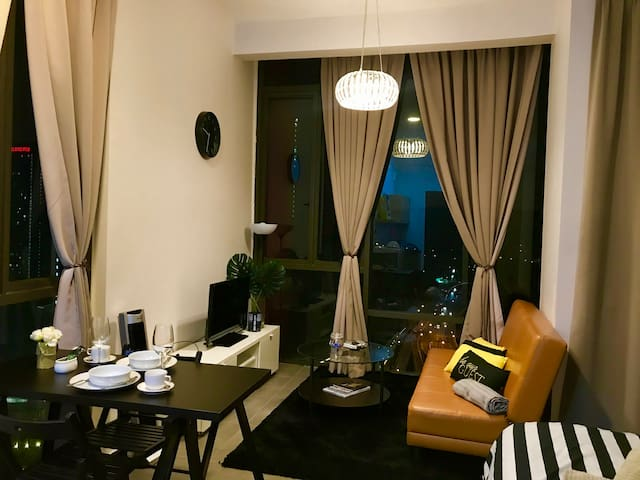 Living room with night view
