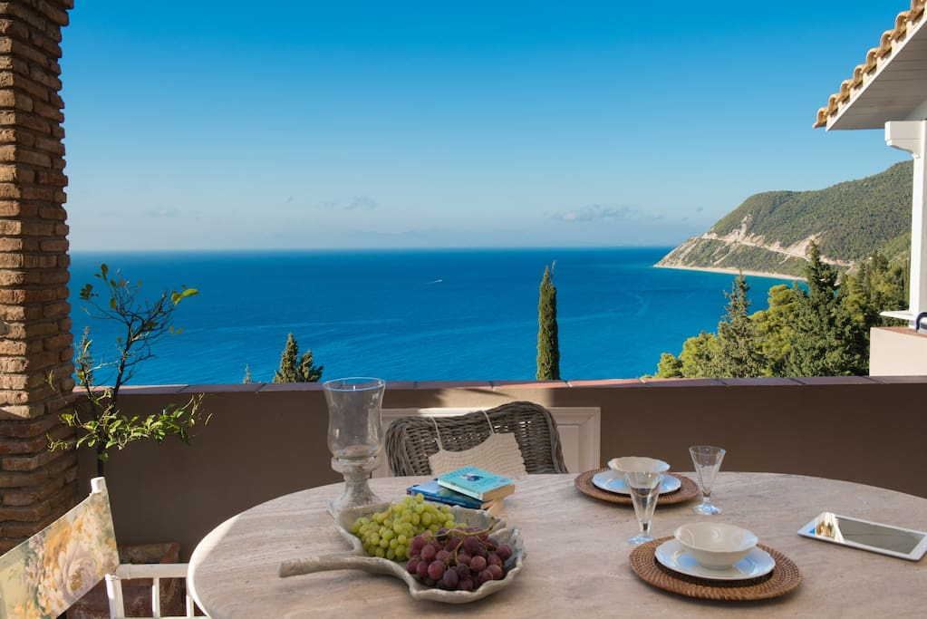 ◉◎⦿○The only way to make this view your reality is to reserve Your summer holiday stay at MyrtoHomes Lefkada . Agios Nikitas Village Lefkada .