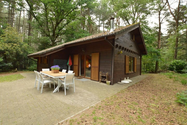 Attractive, detached wooden chalet with private garden, in the middle of a natural area