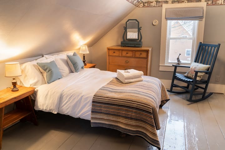 Spacious first floor bedroom with natural feather and down duvet and all cotton linens