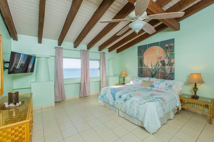 """HBH Cactus Suite > Oceanview bedroom > Sounds of the surf > King size bed > 40"""" LED Wifi/Smart TV"""
