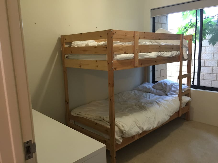 Bunks.. Queen airbed available for $10 extra per night.