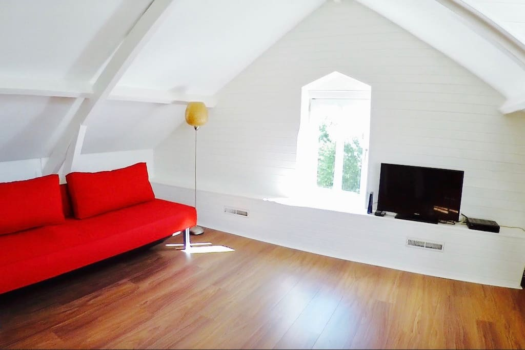 Living room with sofa/bed 2 for persons, TV with Netflix.