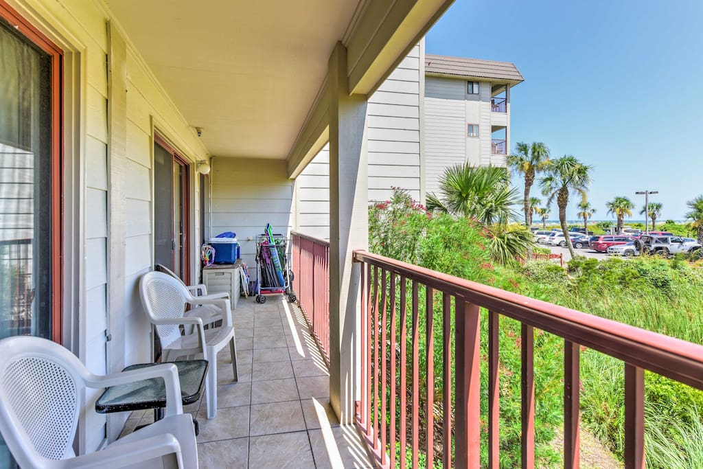 The 2-bedroom, 2-bathroom condo offers a private balcony with ocean views!