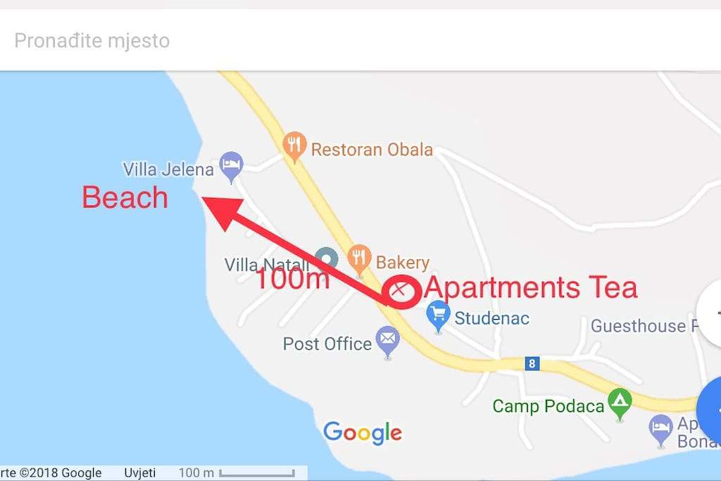 Distance from the beach