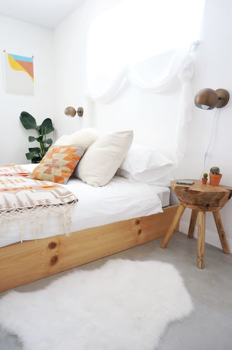 Close up of the cozy Master bed