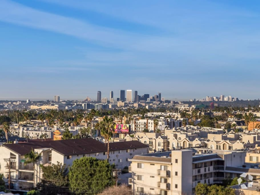 of the city skyline and hollywood hills during the Day ......