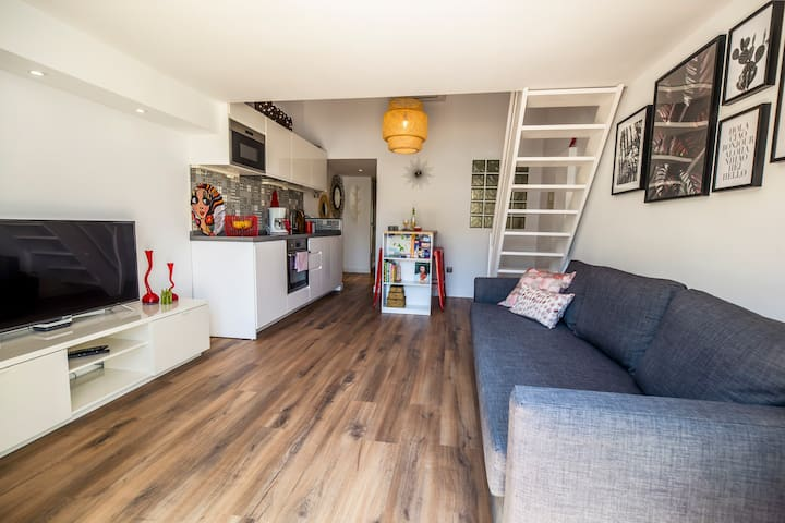 The flat, which can be accessed via a separate entrance or through the house. Contains double sofa bed and 2 separate beds in the sleeping loft.