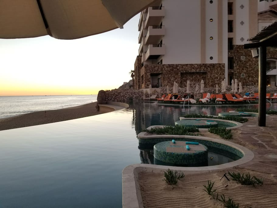 Watch beautiful sunsets from several infinity pools at Resort. Swim up dining with bar service to your table.