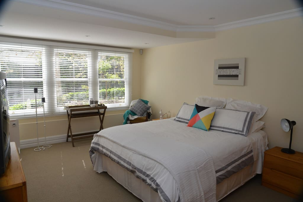 Your luxury accommodation:  Large master bedroom with king size bed, en-suite and TV.