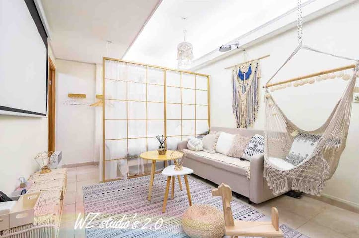 優惠價~WZ 2.0「2夕」4超大床2房1大廳-旺角-波西+摩洛哥風-大型投影、吊椅、秋千、印第帳篷