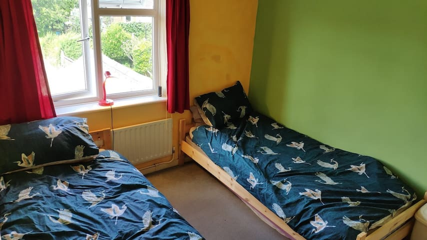 Centrally located twin single beds room, TV