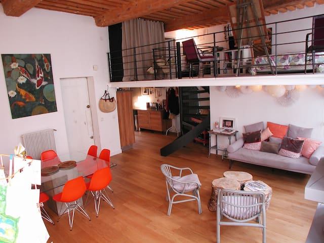 Beautiful loft with wooden ceiling 4 bedrooms - Lione - Loft