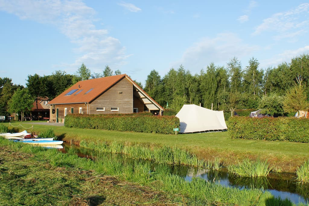 Reception building and River at campsite