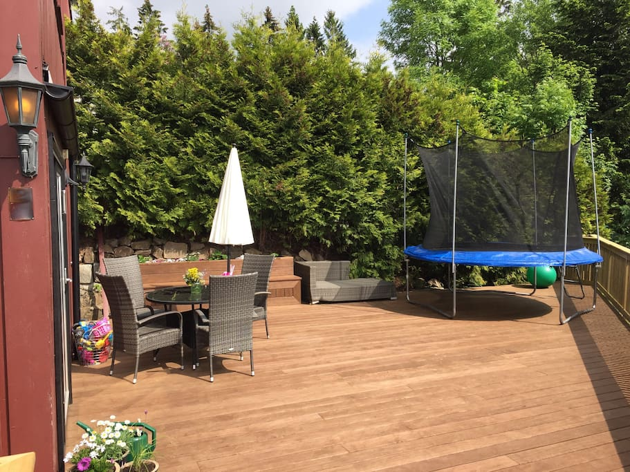 Brand new terrace in 2016 with trampoline
