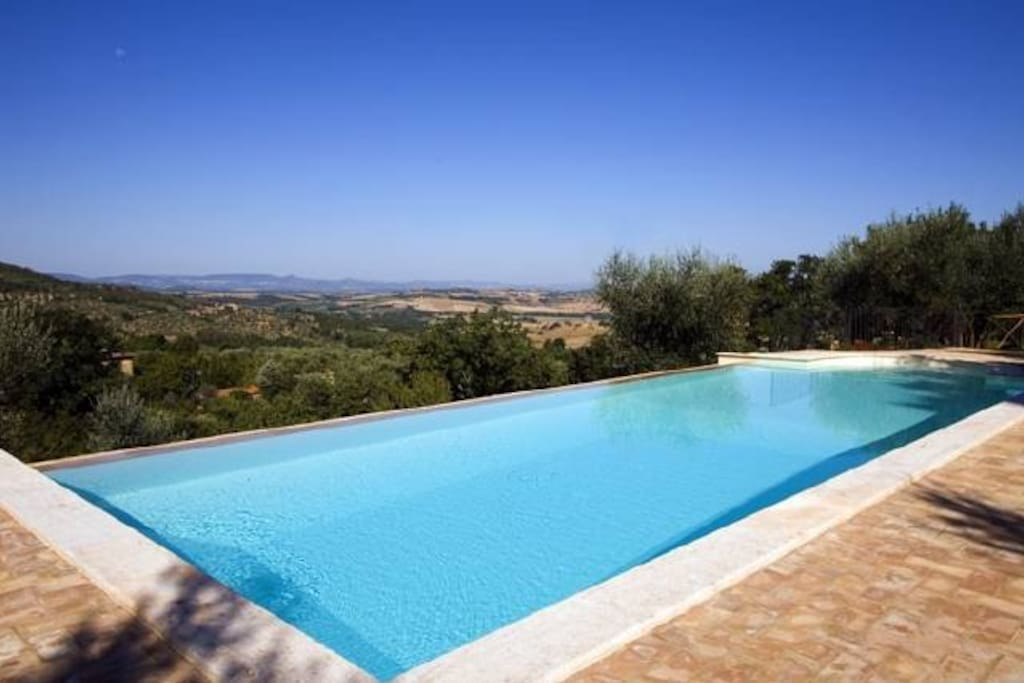 The infinity pool has fantastic views across the Umbrian countryside