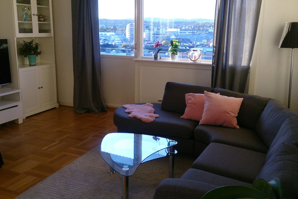 Living room with a great sunny view, very spaciouse with both sofa and dining table. TV, fotball game and all you need for a quiet evening inside.