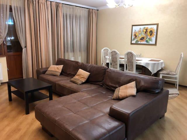 Зал. Удобный широкий кожаный диван